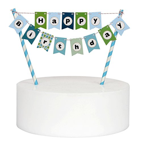 Mini Happy Birthday Cake Bunting Banner Cake Topper,Multicolor Pennant Flags with Blue Pole,Mini Banner Decor (Blue)