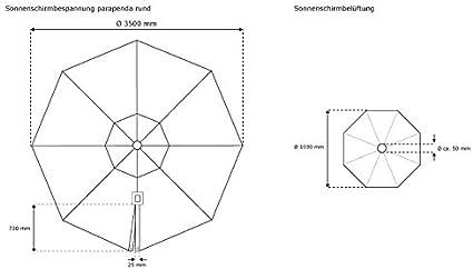 Verde Air Vent per Ombrellone da Giardino Parapenda 3,5 m//Rotondo paramondo Telo di Ricambio incl