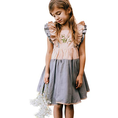 JannyBB Cotton Linen Embroidered Ruffle Flying Sleeve Contrast Tunic Swing Dress Boutique Clothing for Girls 7 Years ()