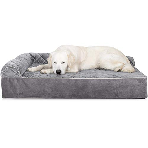 - FurHaven Pet Dog Bed | Deluxe Orthopedic Goliath Quilted L-Chaise Couch Pet Bed for Dogs & Cats, Gray, 2XL (Renewed)