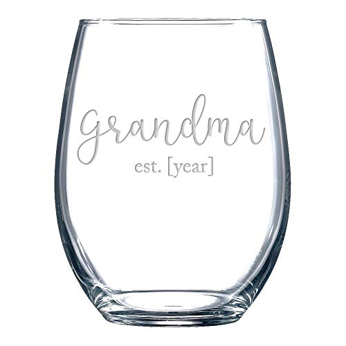 (PERSONALIZED Gift for Grandma Est. Any Year Stemless Wine Glass for New Grandmothers - Any Year)