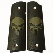 "Custom ""Punizher Skull"" Gritty High-Impact Polymer 1911 Grips in OD Green on Black"