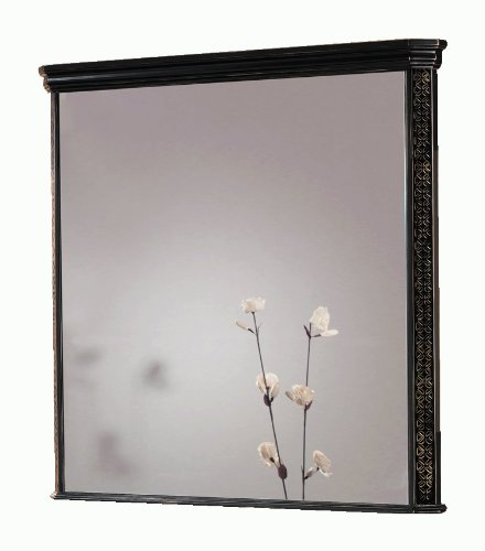 London Wall Framed Mirror 40-inch Wide, Solid Wood Black-golden Patina, Rectangular, Wallmount, Made in Spain (European Brand) by Hispania bath