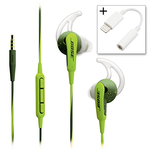 Bose SoundSport In-ear Headphones - Apple Devices Energy Green & Lightenning to 3.5mm Adapter - Bundle