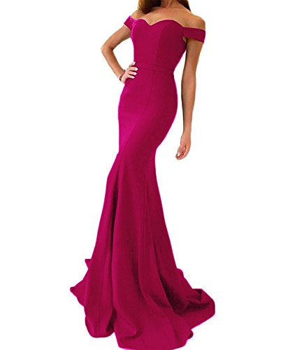Sweet Bridal Women's Mermaid Evening Party Off The Shoulder Prom Dress Long Fuschia US14