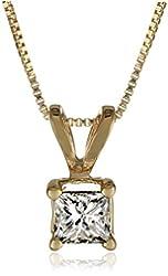 """10k Yellow Gold Princess-Cut Diamond Solitaire Pendant Necklace (1/4 cttw), 18"""""""