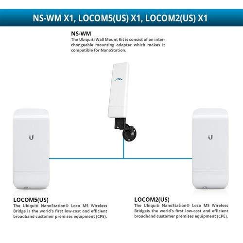 Ubiquiti LOCOM5(US) NanoStation Loco M5 Wireless Bridge with LOCOM2 NanoStation Loco M2 Wireless Bridge and NS-WM Wall Mount ()