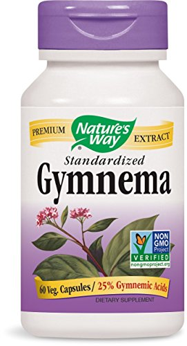 Nature's Way Gymnema Standardized, 500 Milligrams, 60 Vegetarian Capsules. Pack of 3 (Gymnema Standardized 60 Capsules)