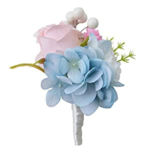 MOJUN Groom Boutonniere Wedding Silk Rose Flowers Accessories Prom Man Suit Decoration, Pack of 4, Light Blue 85