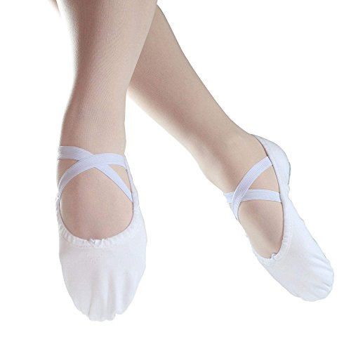 Danzcue Adult Split Sole Canvas Ballet Slipper (11 M, White)