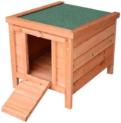 PawHut Small Wooden Dog Cage Bunny Rabbit Guinea Pig House, Natural Wood