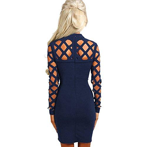 Baymate Vestido Para Mujer,Bodycon Hollow Out Vestido para El Partido De Noche Zafiro Azul