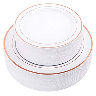 BloominGoods Disposable White with Rose Gold Trim Plastic Plates | Premium Heavy Duty Disposable Dinnerware with Real China Design