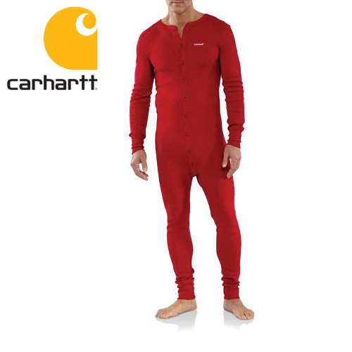 Carhartt Men's Midweight Cotton Union Suit, Red, X-Large Regular