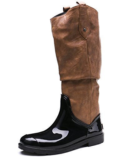 TONGPU Women's Tall High PU Waterproof Stylish Rain Boot Black-camel i2Lb6qrcs