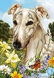 """Cheap Greyhound Dog – Tamara Burnett Summer Flowers Outdoor Garden Flag 12"""" x 17"""""""