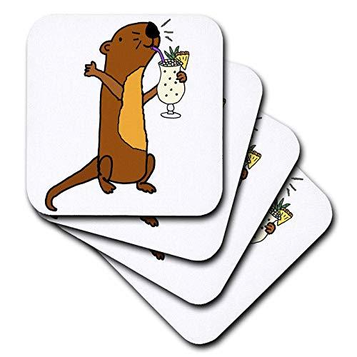 3dRose All Smiles Art - Drinking - Funny Cute Sea Otter Drinking Pina Colada Beach Cartoon - set of 8 Ceramic Tile Coasters (cst_315990_4)