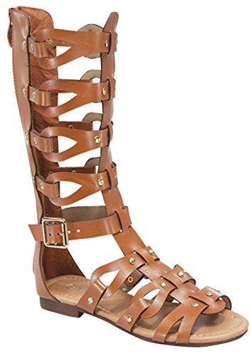 (Link Atta 07K Little Girls Strappy Gladiator Comfort Flat Sandals Tan,Tan,3)