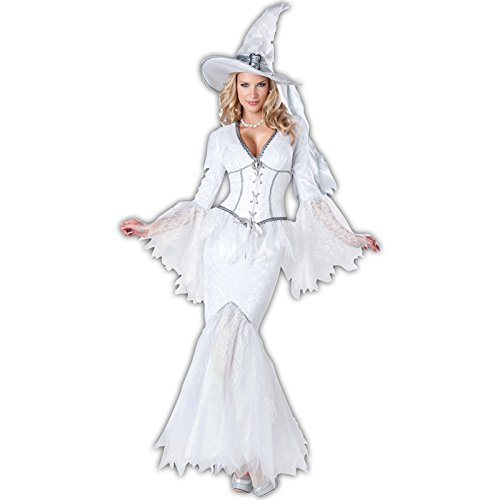 InCharacter Costumes Women's White Magic Witch Costume, White, Small -