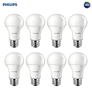 Philips LED Non-Dimmable A19 Frosted Light Bulb: 1500-Lumen, 2700-Kelvin, 14.5-Watt (100-Watt Equivalent), E26 Base, Soft White, 8-Pack