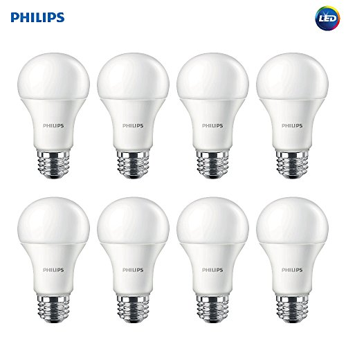 - Philips 461961 LED Non-Dimmable A19 Frosted Light Bulb: 1500-Lumen, 2700-Kelvin, 14.5-Watt (100-Watt Equivalent), E26 Base, Soft White, 8-Pack