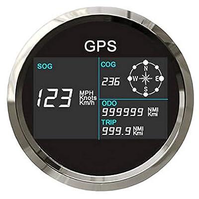 ELING Digital GPS Speedometer LCD Speed Gauge Odometer Course 85mm Overspeed Alarm Mileage Adjustable 7 Backlights: Automotive