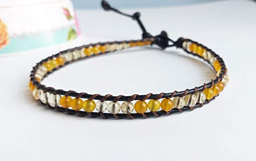 - Citrine yellow jade stone leather choker necklaces men women choker gemstone choker friendship choker