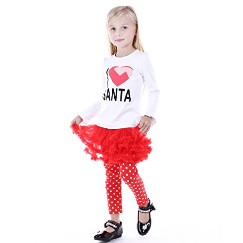 [Bebone Baby Girls I love Santa Cotton Outfits (Santa,5T)] (Cute Santa Outfits)