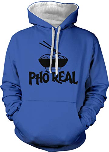 Pho Real - Noodles Vietnamese Food Unisex Two Tone Hoodie Sweatshirt (Royal Blue/White Strings, X-Large)