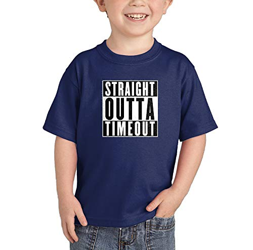 HAASE UNLIMITED Straight Outta Timeout - Trouble Maker Infant/Toddler Cotton Jersey T-Shirt (Navy, 12 Months)