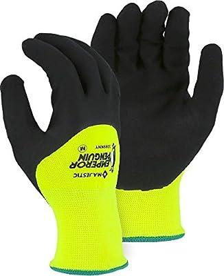 Majestic 3399KNY 3/4 Sandy Nitrile Dip Palm Emperor Penguin Winter/Freezer Lined Gloves …