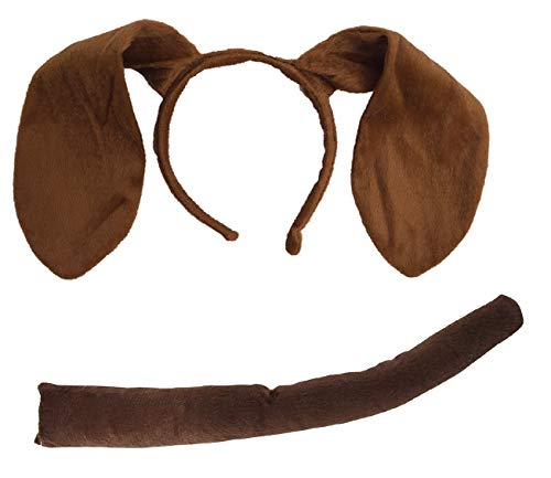 Nicky Bigs Novelties Puppy Dog Ears Headband and Tail Costume Accessory Kit, Brown, One Size]()