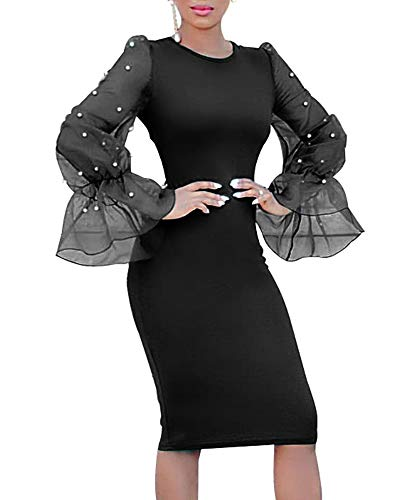 - Gobought Womens Bodycon Business Dress Pearl Mesh Bell Long Sleeve Party Office Pencil Dress