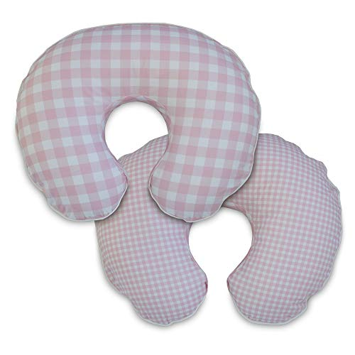 Boppy Premium Pillow Cover, Pink White Jumbo Plaid, Ultra-soft Microfiber Fabric in a fashionable two-sided design, Fits All Boppy Nursing Pillows and Positioners (Boppy 2 Sided Cotton Slipcover)