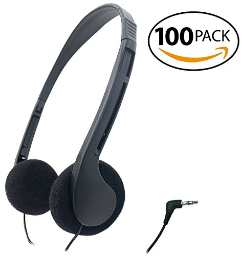 SmithOutlet 100 Pack Low Cost Classroom/Library Headphones
