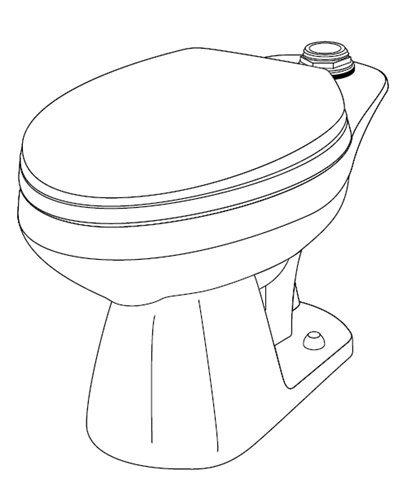 Gerber 25-830 BONE Elongated 1.6 gpf (6 Lpf) Top Spud Toilet Bowl, 10