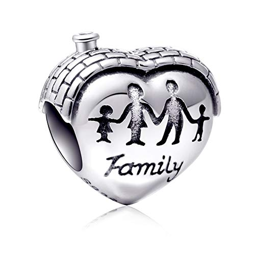 Sambaah Family Charm Sterling Silver Heart Shape House Charm Love Makes a Family Home Charm for Bracelets (Silver Charm House Sterling)