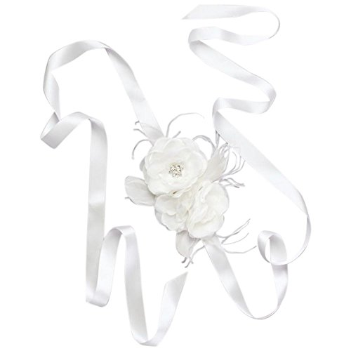 David's Bridal Flower Sash with Crystals and Feathers Style S2053, Soft White from David's Bridal