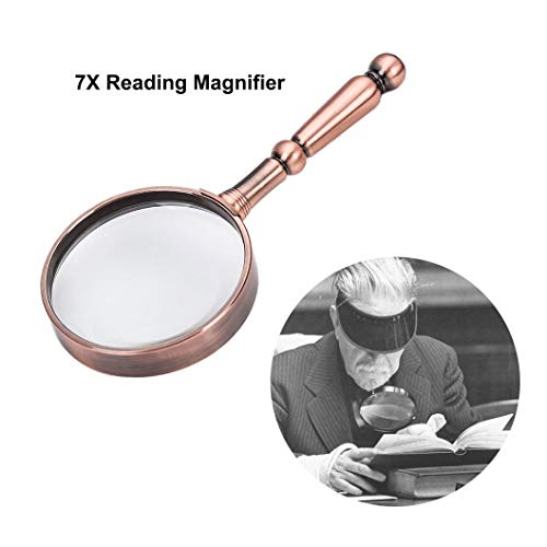 Magnifying Glass 7X Handheld Reading Magnifier - 75MM Magnifying Lens with High-Quality Bronze Metal Handle for Books, Newspapers, Maps, Coins, Jewelry, Hobbies & ()