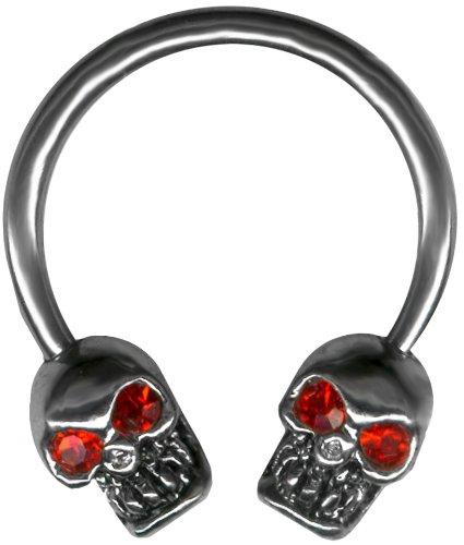 Red Eyed Skull Nipple Ring Barbell Circular Barbell Horseshoe
