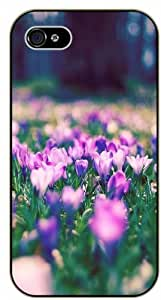 Purple flowers at ground level - iPhone 5 / 5s black plastic case / Flowers and Nature, floral, flower
