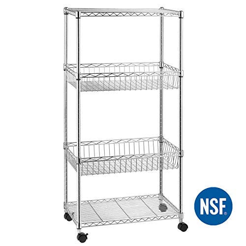 4-Shelf Shelving Unit, Wire Shelving Unit, Wire Shelves with 4 Caster Wheels, Adjustable Basket Storage Rack, Chrome, by ()