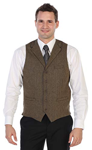Gioberti Men's 5 Button Tailored Collar Slim Fit Formal Herringbone Tweed Suit Vest, Khaki Herringbone, Size Medium