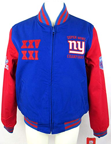 G-III Sports Womens York Giants Super Bowl Champions Reversible Cotton Jacket Embroidered Graphics, Size Large