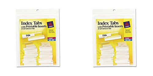 Tabs Adhesive Hanging File Printable (Avery Index Tabs with Printable Inserts, 1-Inch, 25 Tabs (16221), 2 Packs)