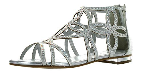 (Forever Tory-63 Womens Cut Out Back Zip Flat Sandals,Silver,9)