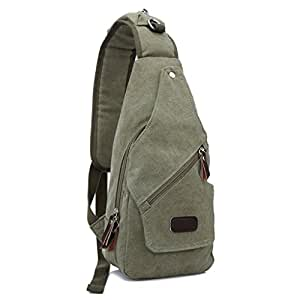 Canvas Multifunctional Shoulder Satchel Bag Travel Hiking Bag Backpack for iPad, iPhone 6 Plus ,All Smart Phone (Army Green))