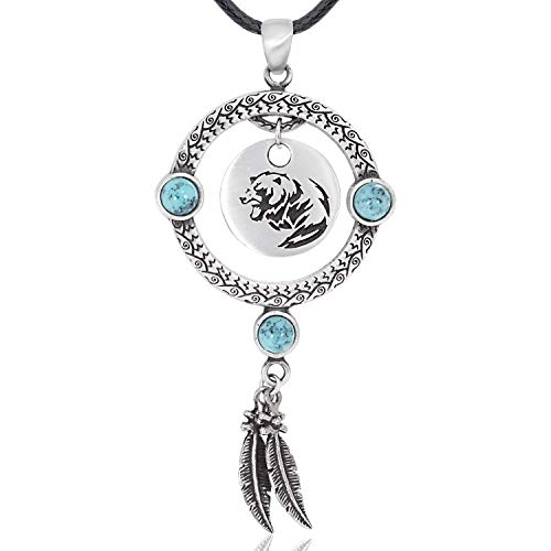 Namaste Jewelers Indian Inspired Feather Bear Pendant Necklace Pewter Jewelry (Feather Pewter Pendant)
