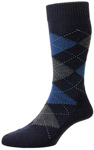 Pantherella Mens Racton Argyle Merino Wool Socks - Dark Navy - Medium