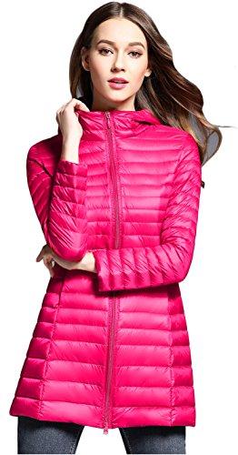 Down Elezay Hooded Winter Women's Rose Weight Jacket Light Coat wzzIqp
